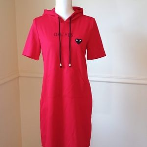 4/$25 Athletic red jersey mini dress with hoodie